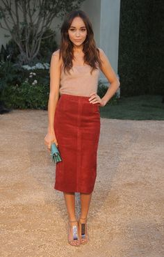 Berry & tan. WEAR: Burberry Prorsum skirt and Leather T-Strap Sandals ($895).Ashley Madekwe Burberry London in LA