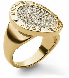 Michael Kors Gold-Tone Logo Ring with Crystal Pavé Disc