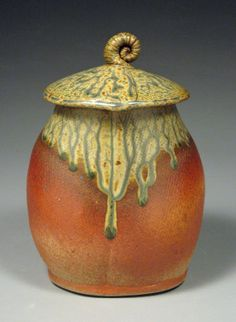 Burnt Orange and Sage Green Ceramic Lidded Jar with by NicePots, $60.00