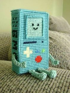 Beemo plastic canvas with pattern by SoSwiftly