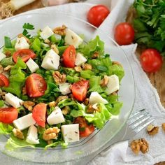 Cheese Salad with Nuts and Cumin. Cheese salad with nuts and cumin seeds [in Romanian] Diet Soup Recipes, Milk Recipes, Healthy Salad Recipes, Crescent Roll Breakfast Casserole, Cheese Salad, Atkins, Food Videos, Cobb Salad, Bruschetta