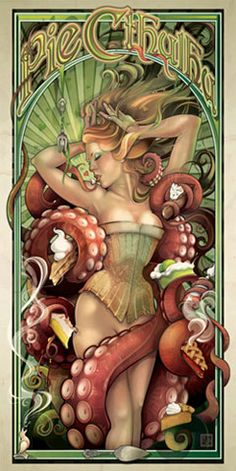 """Pie Cthulhu"" is a fanciful creation of Art Nouveau Illustrator Echo Chernik. Here she combines her love of H.P. Lovecraft and Art Nouveau style pin-up."