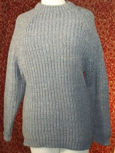 Gray tweed heavy cold weather ski out doors long sleeve sweater M (TS-06C7G) #Unbranded #Crewneck