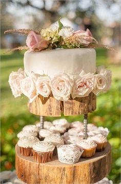 Shabby chic backyard wedding cupcake