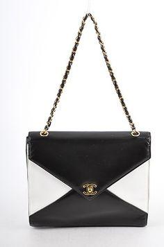 Chanel Black White Lambskin Turnlock Flap Envelope Shoulder Bag