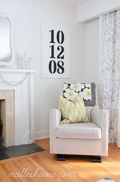 Modern Art for the Living Room - paint some numbers on a canvas  that are significant to you