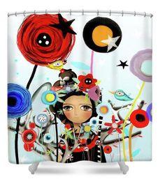 Shower Curtain  Frida Zoom Red Poppy