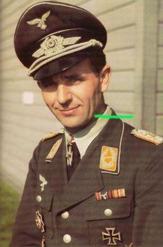 Herbert Ihlefeld as Major wearing Schwerter. Eichenlaubträger, Luftwaffe Day Aces, Luftwaffe Oberst, Ritterkreuzträger, Schwerternträger