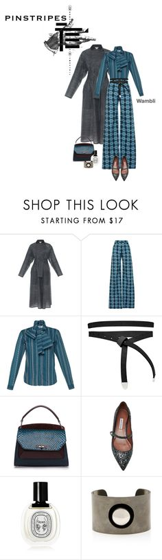"""Wambli Pinstripes and Sparkly Mary Janes"" by wambliwakan ❤ liked on Polyvore featuring Maison Rabih Kayrouz, Holly Fulton, ASOS, Bally, Tabitha Simmons, Diptyque, Tomas Maier, maryjanes and pinstripes"