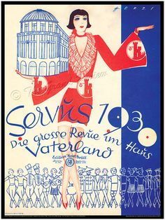 Antique German Print - Cabaret in the Weimar Republic - Berlin 1930 - Kempinski's Haus Vaterland