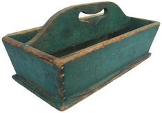 """W294 19th century Cutlery Tray with heart cut out handle  and the original dry green paint signed J.W.F. on side nailed construction with square head nails. ( 3/4"""" deep x 19"""" long x sides 5 1/2"""" tall with the handle 8"""""""