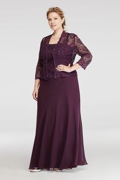 Plus Size Two Piece Jacket Mother of Bride/Groom Dress with Sequin Lace Jacket - Eggplant (Purple), 22W