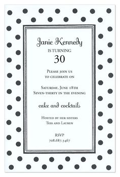Black and White Dots Invitation from Odd Balls