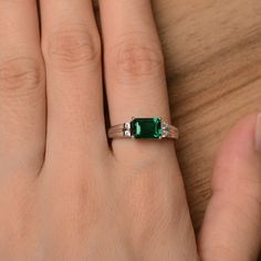 lab emerald ring emerald cut green gemstone ring May image 3 Green Emerald Ring, Emerald Cut Rings, Engraved Jewelry, Engraved Rings, Colombian Emerald Ring, May Birthstone Rings, Jewelry Rings, Jewlery, Custom Jewelry
