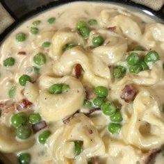 This is a super quick and delicious recipe. Not low in fat but high in flavor. Fresh cheese-filled tortellini combined with cubed ham, onion and green peas in a rich, cream sauce. Serve with garlic bread and a salad. Tortellini Carbonara Recipe, Crock Pot Tortellini, Tortellini Recipes, Cheese Tortellini, Pasta Recipes, Fast Dinners, Easy Meals, Crockpot Recipes, Healthy Recipes