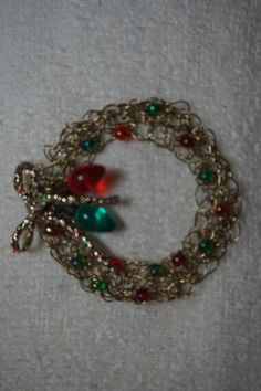 Handmade Crocheted Wire Christmas Holiday Pin with by UStamp2