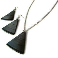 Recycled Vinyl Record Triangular Earrings