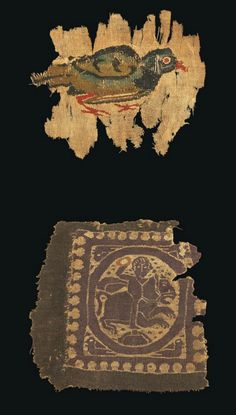 TWO COPTIC TEXTILE FRAGMENTS CIRCA 5TH-8TH CENTURY A.D. Comprising a tapestry-woven red-legged quail in profile to the right, circa 4th-5th Century A.D.; and another purple and brown fragment with figure of a horseman holding up a wreath, four birds in quarter, circa 5th-7th Century A.D. 5½ in. (14 cm.) wide max.