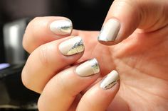 Abstract silver foil nails