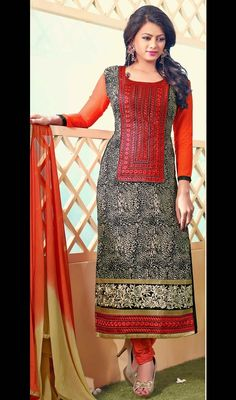 Designer black, coral embroidered georgette churidar dress is perfect for evening party requirement. The dress is garnished with golden woven lace, silk thread embroidered border and appliqued yoke in neckline and all over intricate design digital printed which adds charm and grace to your beauty.  #LatestCasualDresses