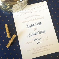 Blush Paperie, navy and champagne wedding invitation. Barn, strung lights.