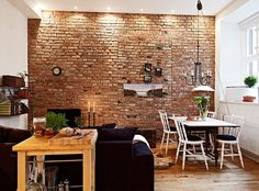 Exposed brick wall interior design red room ideas painting interiors with small kitchen kids agreeable home Small Apartment Design, Small Apartment Decorating, Small Apartments, Brick Paneling, Exposed Brick Walls, Industrial Interiors, Rustic Interiors, Industrial Style, Facades