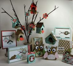 Inking Idaho On The Road - Display 2 Woodlands display featuring the Bird Builder punch, Owl Builder Punch, Milk Carton Die and Take Care stamp set.  All Stampin' Up!