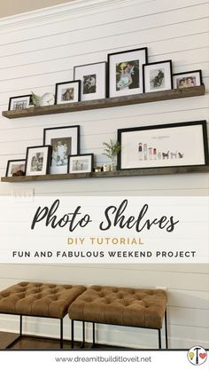 Want a quick and easy weekend project to provide style to any room? We've got just the thing! Check out our latest how-to post for these beautiful DIY photo shelves. Stop by and subscribe for all of our updates on home decor and DIY project ideas and inspiration! #DIY #HomeDecor #Farmhouse #PhotoShelves Living Room Built Ins, Living Room Decor, Diy Décoration, Easy Diy, Photo Shelf, Picture Shelves, Diy Casa, Ship Lap Walls, Diy Photo