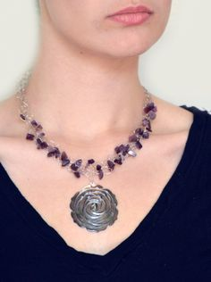 Crochet Wire-Braided Necklace w/ purple stone chips and dark purple rose pendant