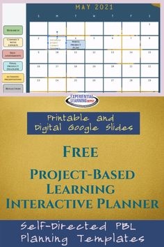 This free digital Google Slides teacher planner is set up to help you seamlessly plan and organize self-directed project-based learning experiences with your high school students. This planner works well for all subjects and grade-levels. It includes drag-and-drop-elements that are specific to PBL. Grab it for free right here! Teacher Planner, Teacher Blogs, 21st Century Classroom, Experiential Learning, 21st Century Skills, Project Based Learning, Creative Teaching, High School Students, Learning Resources