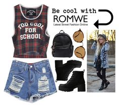 """ROMWE CONTEST"" by hungry-unicorn ❤ liked on Polyvore featuring Filles à papa, Ray-Ban, Dsquared2 and Lipstik"