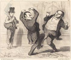 Attachés par leur grandeur au rivage de la Seine... | Honoré Daumier, Attachés par leur grandeur au rivage de la Seine... (1850)