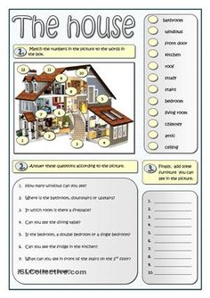 A simple vocabulary activity that aims at revising the house and furniture. First, students match the parts of the house in the picture to their names in the box. In number two students practice their reading skills on the same topic. Finally they add more words related to the topic.It can be followed by a bingo activity or be used as a test.More practice…