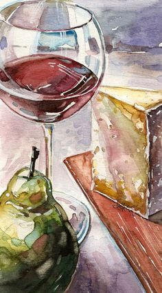 wine art by Ashley Cecil (watercolor) Painting includes 3 of my favorite things Watercolor Food, Watercolour Painting, Painting & Drawing, Watercolors, Watercolor Artists, Watercolor Flowers, Art Du Vin, Wine Painting, Wine Art