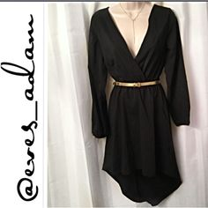 """Light weight, high low, silk feel dress Brand new with tags. Step into classy in this flowy high low style black chiffon dress. Dress is in mint condition. Not sure why, but the unworn belt appears to be in a worn condition. Elastic waist and wrists. Approx length from shoulder to high end is 33"""" (higher in front). Coolwear Dresses"""