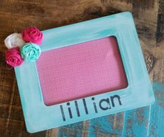 Personalized shabby chic picure frame by whatsyoursigndesigns, $12.00