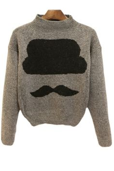 Cute Moustache Sweater OASAP.com