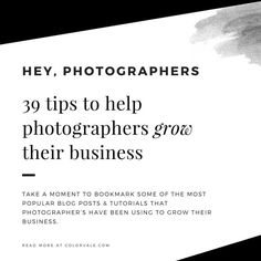 Take a moment to bookmark some of the most popular blog posts & tutorials that photographer's have been using to grow their business.  Learn How To Shoot In Manual Mode – ISO, Shutter Speed & Aperture How to create back links to help boost your SEO How To Make A Faux Floor In 20 Minutes & Under $20 Checkli