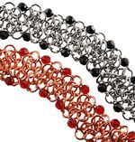 Beaded Angled Rosettes Chainmaille Bracelet