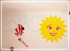 Cartoon hot-air balloon & sun wall drawing