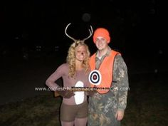Homemade Deer Hunting Costume: I dressed up as a deer and my husband dressed up as a hunter. We put a bulls eye on his stomach and I carried around a plastic shot gun. We got GREAT compliments