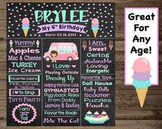Ice cream birthday, ice cream chalkboard, girls first birthday ice cream party, i . Ice Cream Theme, Ice Cream Parlor, Popsicle Party, Candy Stand, Ice Cream Stand, Girl First Birthday, 4th Birthday, Birthday Ideas, Sprinkle Party