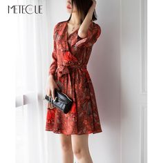 High Street Floral Print Flare Sleeve A Line With Sash Sexy Midi Women Dress Elegant Silk Ladies Dresses Spring Summer 2018 Elegant Dresses For Women, Ladies Dresses, Spring Summer 2018, Sport Wear, Sash, Flare, Wrap Dress, Floral Prints, Fashion Outfits