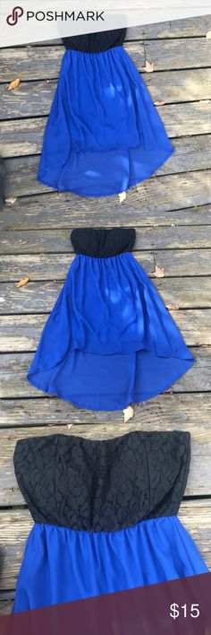 Strapless dress Royal blue chiffon hi/lo hem 😊strapless 😊flower pattern top😊The light spots are sunlight 😊 Deb Dresses Strapless