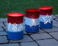 Turn old cans into red, white, and blue luminaries!
