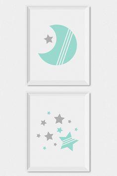 Mint Green And Gray Modern Gender Neutral Nursery Decor Moon Stars Baby Wall