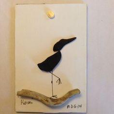 """Pebble Art by Denise """" Heron"""". Unframed for photo"""