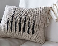 MONOCHROME KNIT PILLOW by Tracing Threads - Kate