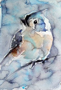 ARTFINDER: Titmouse II by Kovács Anna Brigitta - Original watercolour painting on high quality watercolour paper. I love landscapes, still life, nature and wildlife, lights and shadows, colorful sight. Thes...