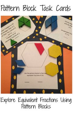These task cards encourage students to use pattern blocks and problem solving to find equivalent fractions. 4th Grade Fractions, Teaching Fractions, Fourth Grade Math, Teaching Math, Third Grade, Dividing Fractions, Multiplying Fractions, Grade 3, Fractions Year 3